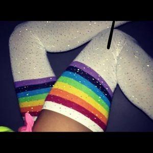 Accessories - Rainbow crystal rhinestone over the knee socks